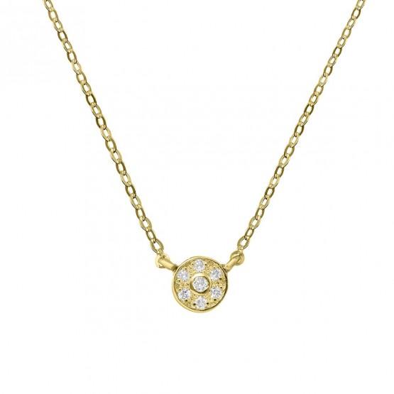 Collar de oro 18k con roseta de 7 diamantes (76AGA003)