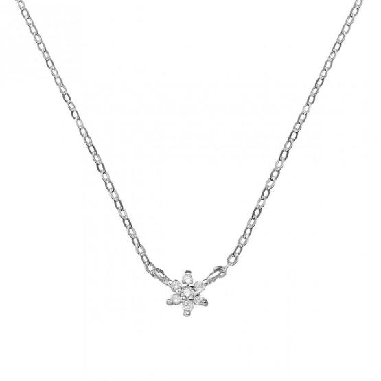 Collar de oro blanco Flor 7 diamantes 0.06ct (76BGA001)