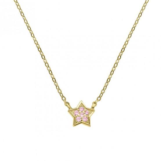 Colgante estrella oro con 6 zafiros rosas (76AGA005ZR)