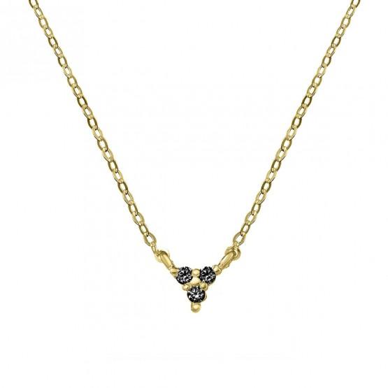 Colgante triangulo oro con 3 diamantes negros (76AGA002DN)