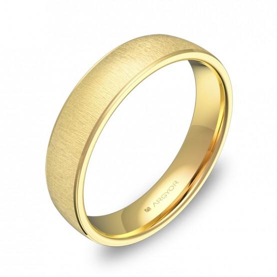 Alianza de boda con biseles 4,5mm en oro amarillo textura C0645T00A
