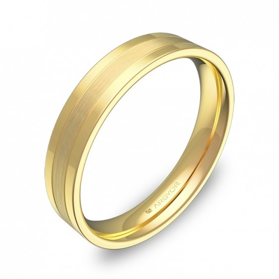 Alianza de boda con ranuras 4mm en oro amarillo combinado C2540C00A