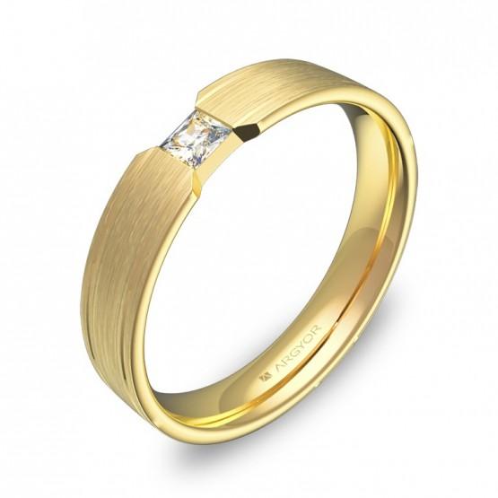 Alianza de boda plana con ranuras en oro con diamante C1640S1PA