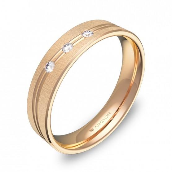 Alianza de boda con ranuras 4,5mm en oro rosa con diamantes C3745T3BR