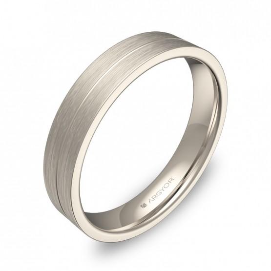 Alianza de boda plana con ranuras 4mm en oro blanco satinado C0340S00B