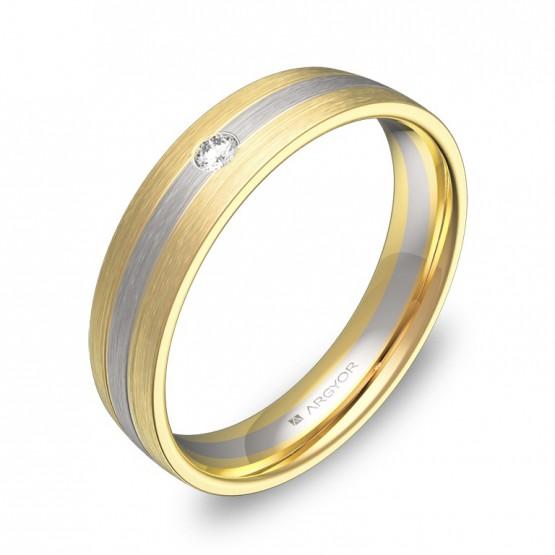 Alianza de boda 4,5mm en oro bicolor satinado con diamante D1745S1BA