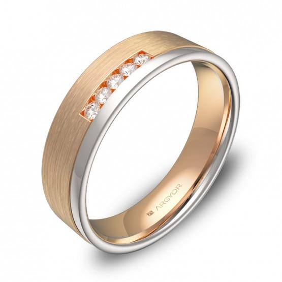 Alianza de boda plana con ranuras oro bicolor y 5 diamantes D2850C5BR
