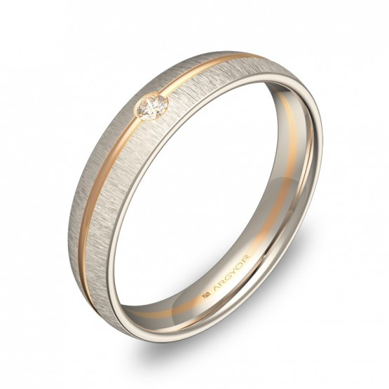 Alianza de boda media caña con ranuras oro bicolor y diamanteD2140T1BR
