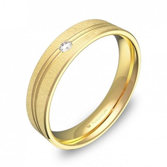 Alianza de boda con ranuras en oro amarillo con diamante C3745T1BA