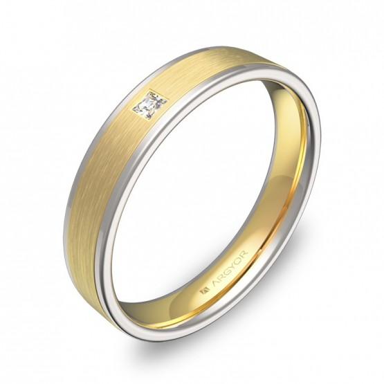 Alianza de boda con biseles de oro bicolor con 1 diamante D2440C1PA