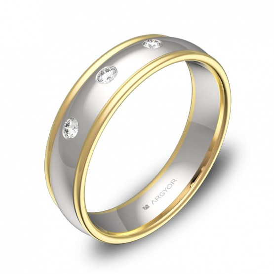Alianza de boda con biseles en oro bicolor con diamantes D1650P3BA