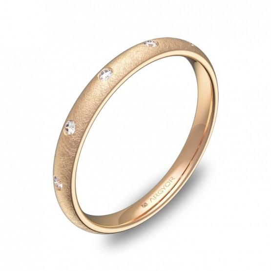 Alianza media caña gruesa en oro rosa hielo con diamantes A0125H5BR