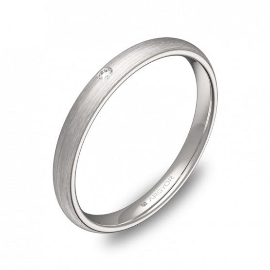Alianza de boda de media caña en oro blanco con diamante A0125S1BB