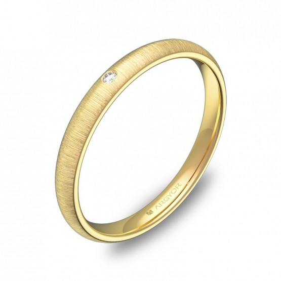Alianza de 2,5mm de oro amarillo rayado con diamante A0125T1BA