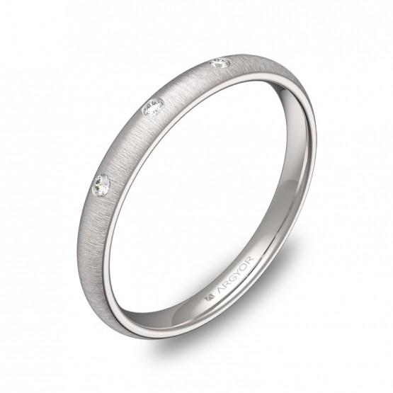 Alianza de media caña 2,5mm en oro blanco con diamantes A0125T3BB