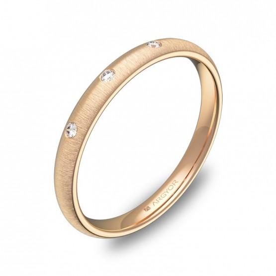 Alianza de media caña gruesa 2,5mm oro rosa con diamantes A0125T3BR