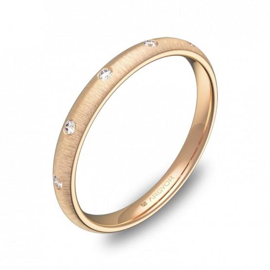 Alianza de media caña gruesa 2,5mm oro rosa con diamantes A0125T5BR