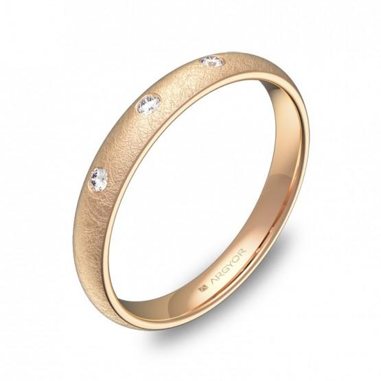 Alianza de media caña gruesa  en oro rosa con diamantes A0130H3BR