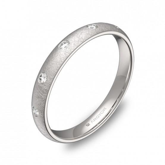 Alianza de 3,0mm en oro blanco hielo con diamantes A0130H5BB