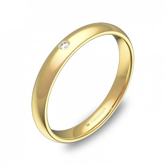 Alianza de media caña gruesa 3,0mm en oro pulido y diamante A0130P1BA