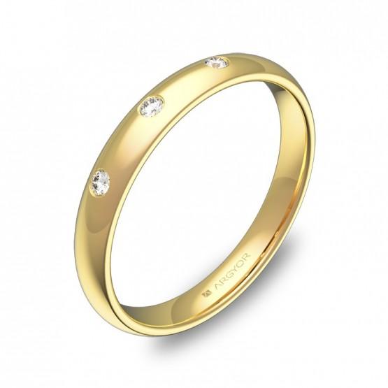 Alianza de media caña gruesa en oro pulido con diamantes A0130P3BA