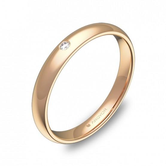 Alianza de media caña gruesa en oro rosa pulido 1 diamante A0130P1BR