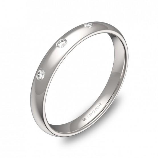 Alianza de 3,0mm en oro blanco pulido con diamantes A0130P3BB