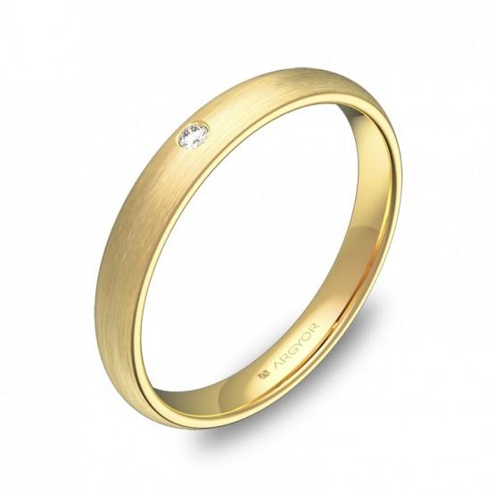 Alianza de media caña gruesa en oro amarillo con diamante A0130S1BA