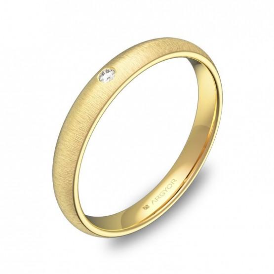 Alianza de 3,0mm en oro amarillo rayado con diamante A0130T1BA
