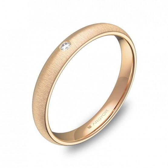 Alianza de 3,0mm en oro rosa rayado con diamante A0130T1BR