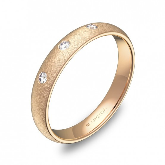 Alianza de media caña gruesa en oro rosa con diamantes A0135H3BR