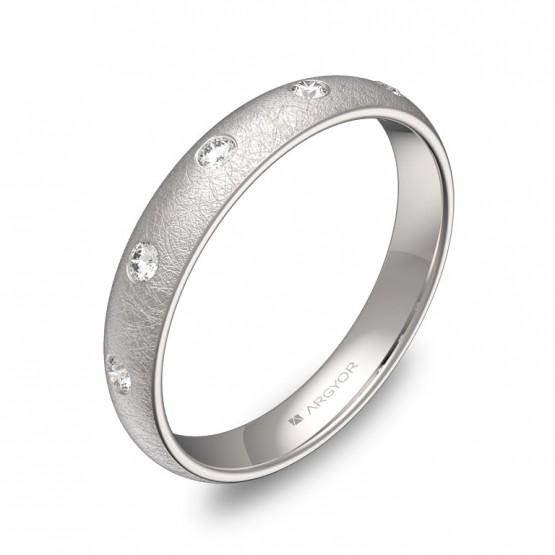 Alianza de media caña 3,5mm en oro blanco con diamantes A0135H5BB