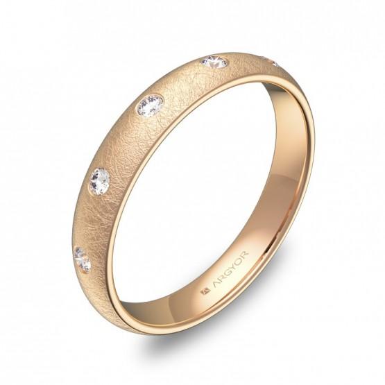 Alianza de 3,5mm en oro rosa hielo con 5 diamantes A0135H5BR