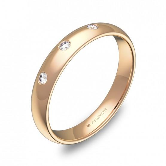 Alianza de media caña gruesa 3,5mm oro rosa con diamantes A0135P3BR