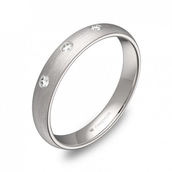Alianza de media caña 3,5mm en oro blanco con diamantes A0135S3BB