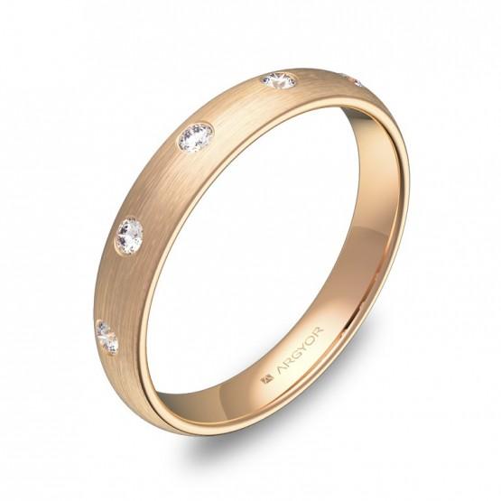 Alianza de 3,5mm en oro rosa satinado con diamantes A0135S5BR