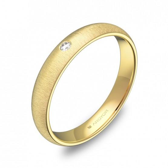 Alianza de media caña 3,5mm en oro amarillo con diamante A0135T1BA