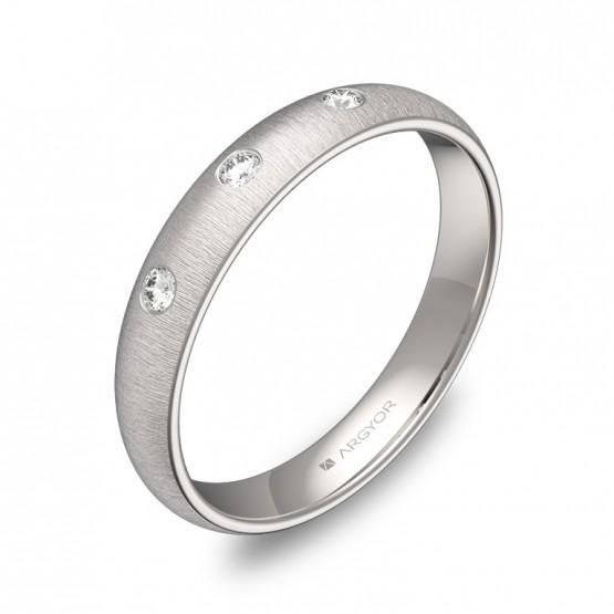 Alianza de 3,5mm en oro blanco rayado con diamantes A0135T3BB