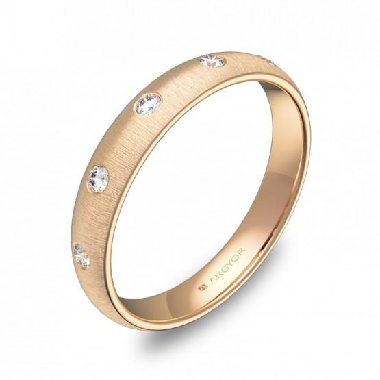 Alianza de media caña gruesa en oro rosa rayado 5 diamantes A0135T5BR