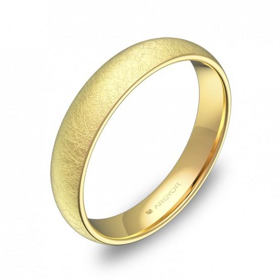 Alianza de media caña gruesa 4,0mm en oro amarillo hielo A0140H00A