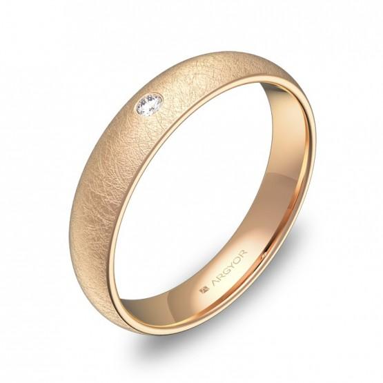Alianza de bodas 4,0mm en oro rosa hielo con diamante A0140H1BR