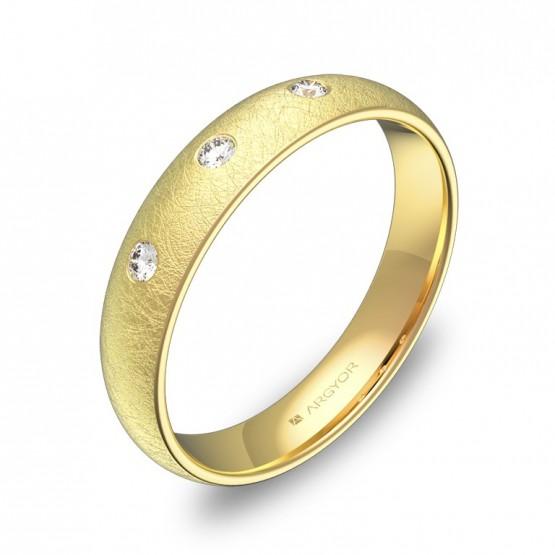 Alianza de media caña gruesa en oro amarillo con diamantes A0140H3BA