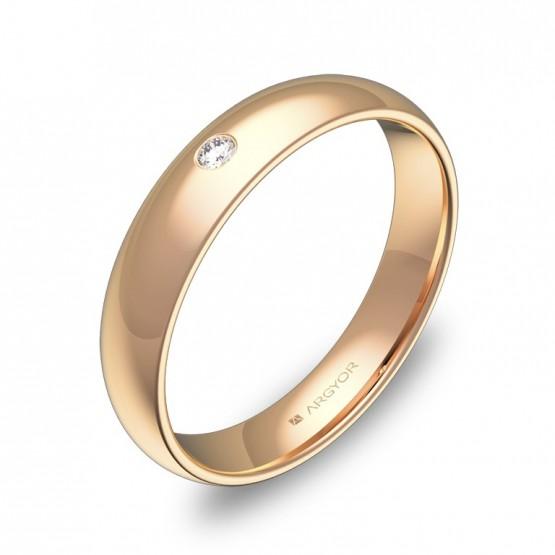 Alianza de 4,0mm en oro rosa pulido con diamante A0140P1BR