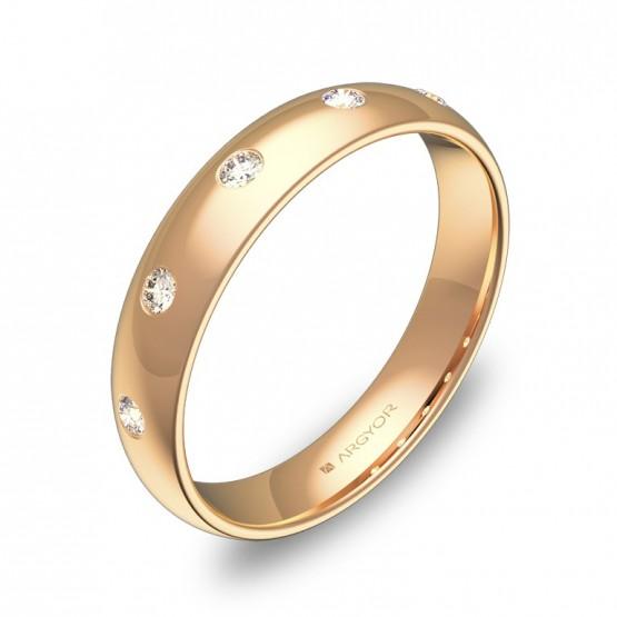 Alianza de media caña gruesa 4mm en oro rosa con diamantes A0140P5BR