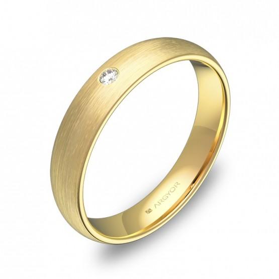 Alianza de media caña gruesa en oro amarillo con diamante A0140S1BA