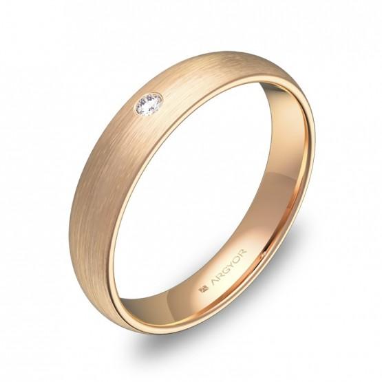 Alianza de media caña gruesa 4,0mm en oro rosa con diamante A0140S1BR
