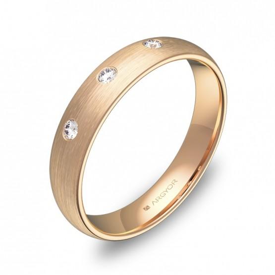 Alianza de 4,0mm en oro rosa satinado con diamantes A0140S3BR