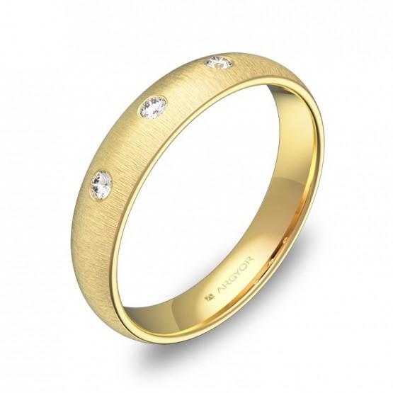 Alianza de media caña gruesa en oro rayado con 3 diamantes A0140T3BA