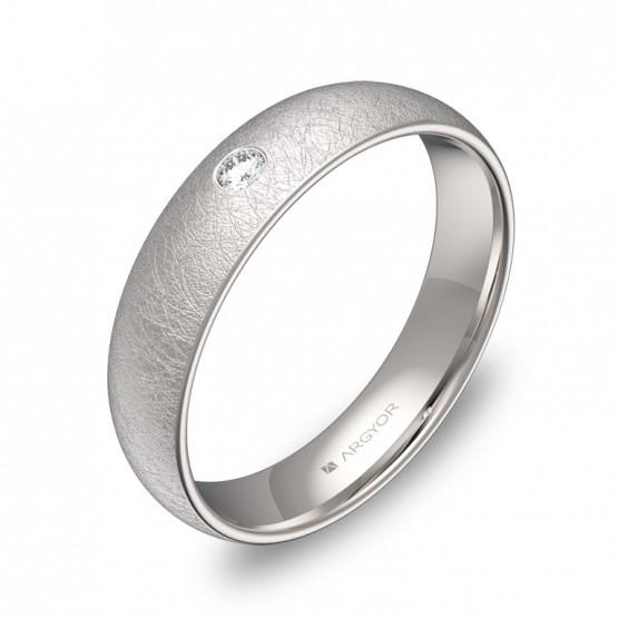 Alianza de media caña gruesa oro blanco hielo con diamante A0145H1BB