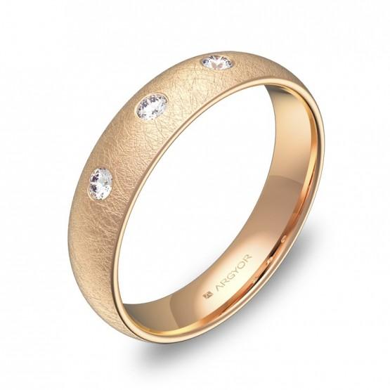 Alianza de media caña gruesa 4,5mm en oro rosa 3 diamantes A0145H3BR